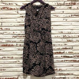 LOFT Dresses - Ann Taylor Loft Henley Black Brown Floral Dress